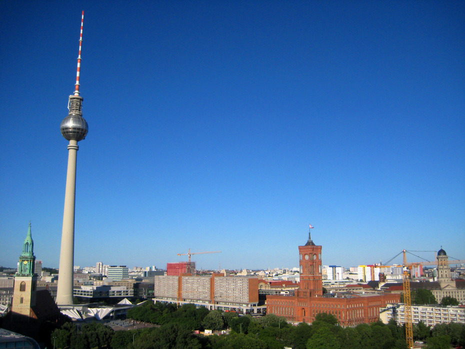 The TV tower in Berlin as seen from Berlin Cathedral