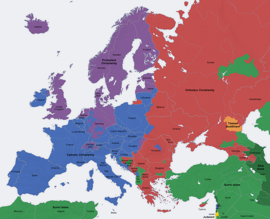 Religious Map of Europe