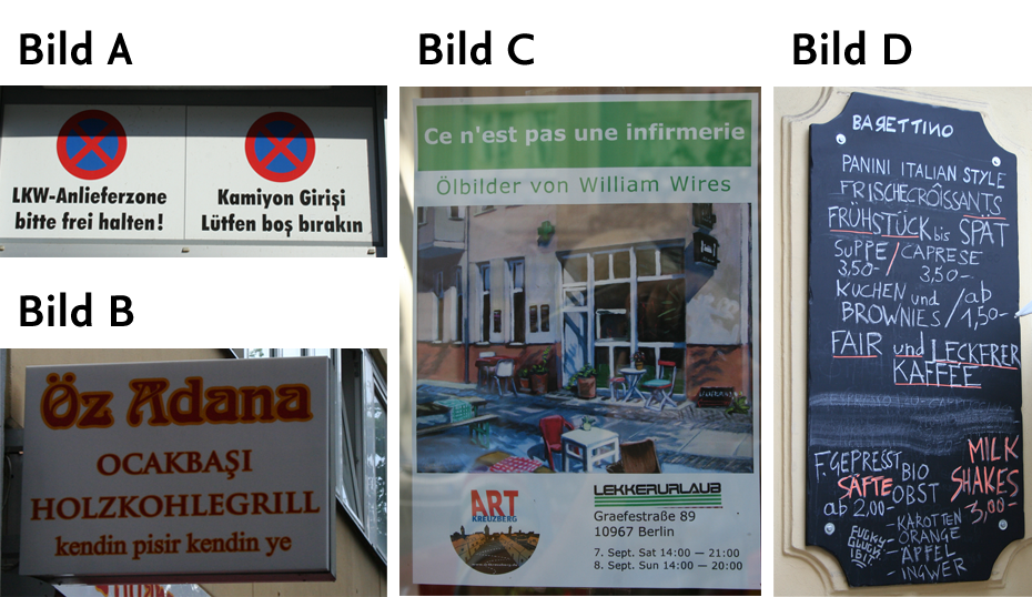 Four examples of multilingual information (to enlarge please click on the picture)